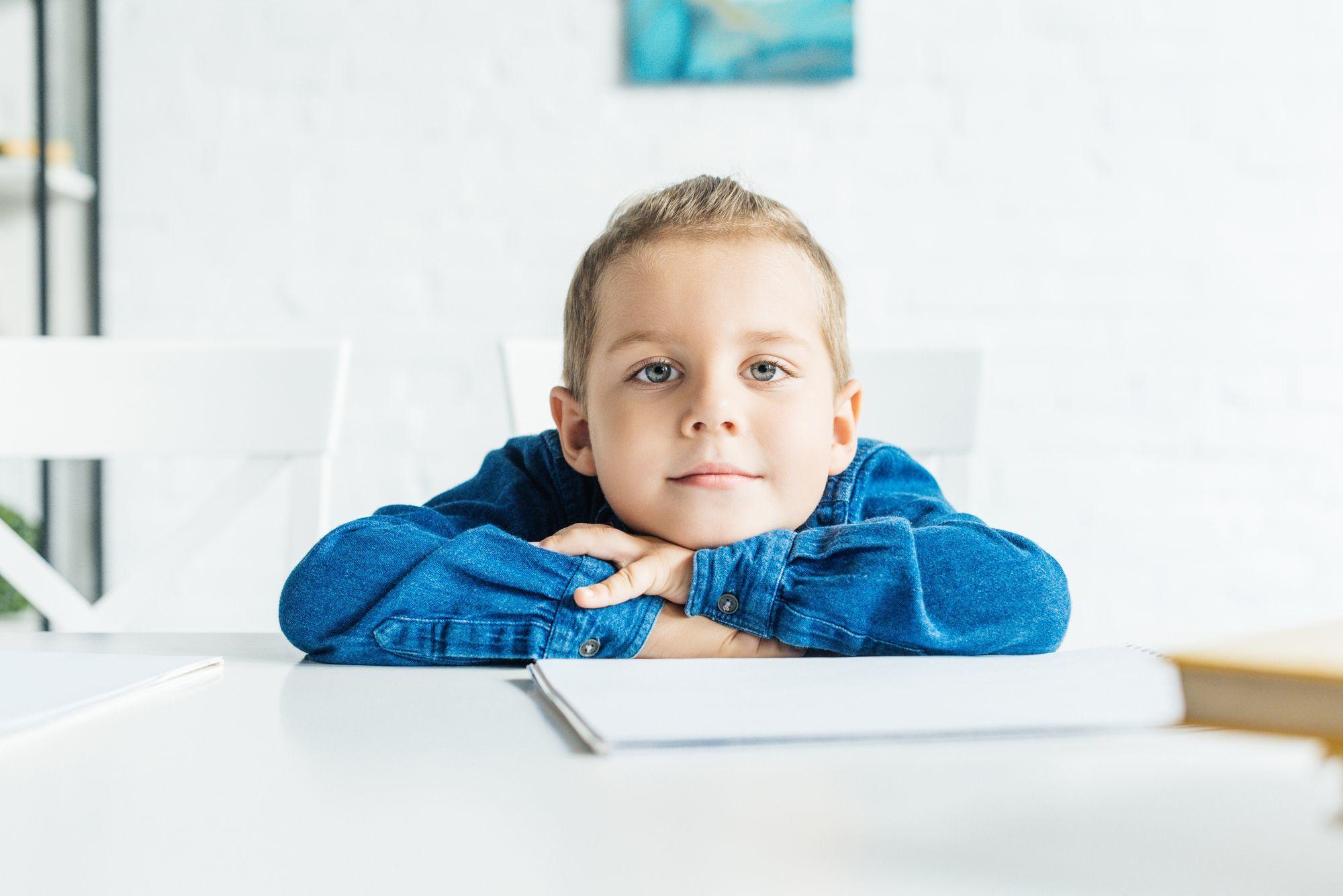 Rozkošné malé dítě sedí u stolu s prázdnou notebook a při pohledu na fotoaparát - null